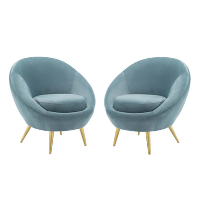MId-Century Modern Circuit Velvet Accent Chairs Set of 2, Light Blue - Wantism