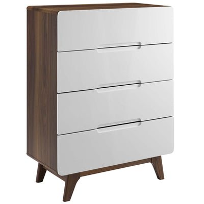 Mid-Century Origin 4-Drawer Chest Storage Dresser Cabinet, Walnut - Wantism