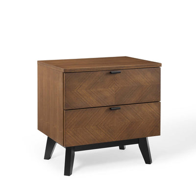 Mid-Century Kali Wood Nightstand End Table, Walnut - Wantism