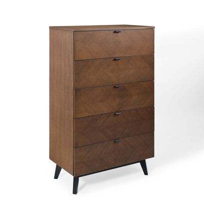 Mid-Century Kali 5-Drawer Dresser Storage Chest, Walnut - Wantism
