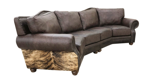 Split Rail Curved Western Leather Sectional Sofa