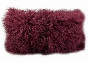 Tibetan Sheep Throw Pillow - Cabernet