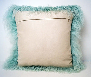 Tibetan Sheep Throw Pillow - Light Teel