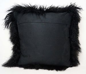 Tibetan Sheep Throw Pillow - Black
