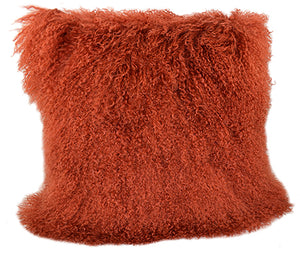 Tibetan Sheep Throw Pillow - Rust