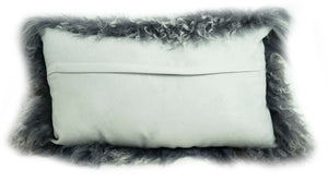 Tibetan Throw Pillow - Grey Tipped