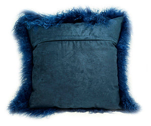 Tibetan Sheep Throw Pillow - Nautical Blue