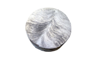 "Cowhide 36"" Round Patchwork Ottoman - Gray"
