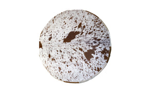 "Cowhide 36"" Round Patchwork Ottoman - Light Brown"