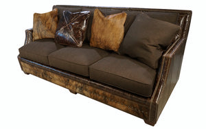 Adrian Contemporary Western Cowhide Sofa - Chocolate