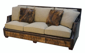 Adrian Contemporary Western Cowhide Sofa - Oatmeal