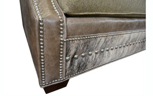 Adrian Contemporary Western Cowhide Sofa - Gray