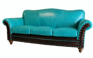 Albuquerque Turquoise Western Leather Sofa