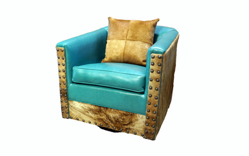 Albuquerque Turquoise Western Leather Swivel Glider
