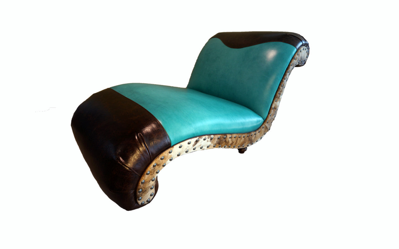 Albuquerque Turquoise Western Leather Chaise Lounge