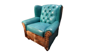 Albuquerque Turquoise Oversized Western Leather Wingback Chair