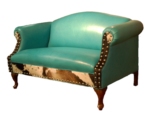 Albuquerque Turquoise Western Leather Settee