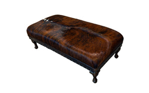 Amarillo Rustic Cowhide Large Rectangle Ottoman