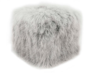 "Tibetan Sheep 18"" Square Pouf Ottoman- Ash Grey"