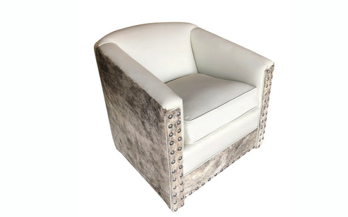Avalanche Mountain Modern Cowhide Swivel Glider