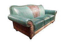 Load image into Gallery viewer, Bayou Turquoise Western Leather Sofa