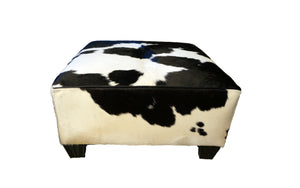 "Black and White 36"" x 36"" Square Cowhide Ottoman"