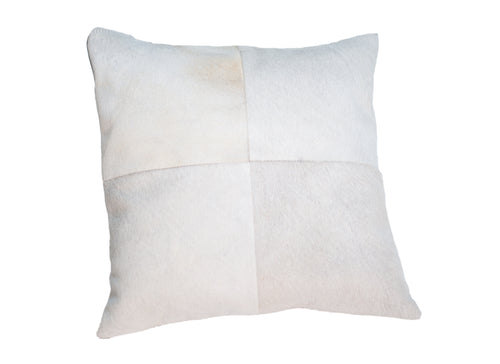 Cowhide Quadrant Pillow - White