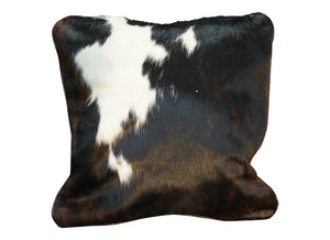 Cowhide Square Pillow - Brindle with White Accents