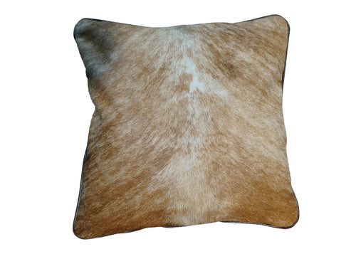 Cowhide Square Pillow - Light Brindle