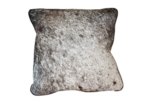 Cowhide Square Pillow - Brown and White Speckle