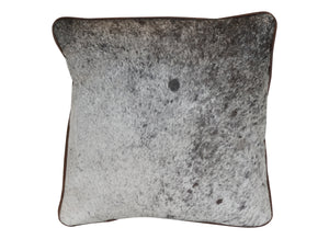 Cowhide Square Pillow - Black and White Speckle