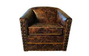 Dark & Stormy Distressed Leather Swivel Glider