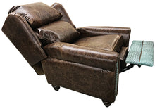 Load image into Gallery viewer, Turquoise Gator Oversized Western Leather Wingback Recliner