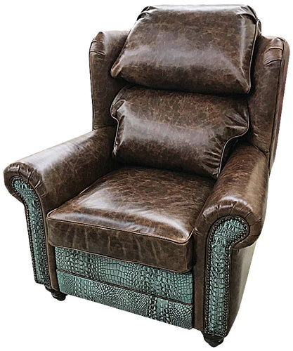 Turquoise Gator Oversized Western Leather Wingback Recliner