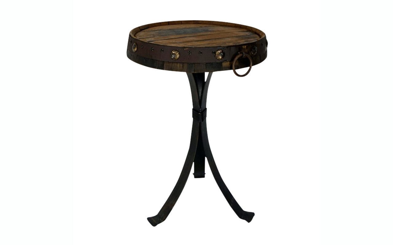 Reclaimed Tequila Barrel Top Side Table