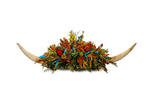 Giant Double Horn W/Turquoise & Rust Centerpiece
