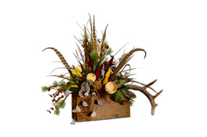 Cotton Pod Arrangement in Reclaimed Wood Box with Antler