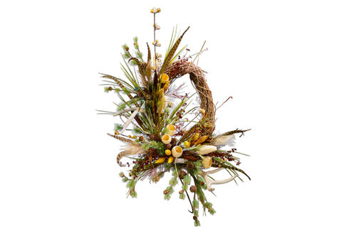 Oval Woodland Wreath W/Antlers Wall Piece