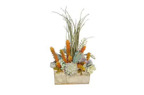 White 3 Hole Sugar Mold W/Beach Grass Center Piece