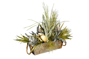Distressed Galvanized Pot with Natural Greenery and Natural Pods