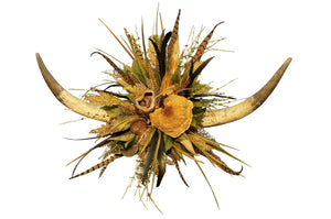 Double Horn W/Natural Pods & Protea Wall Piece