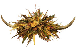 Giant Double Wall Horn with Natural Pods and Protea Arrangement