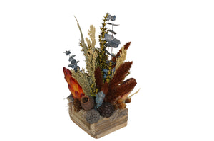 Reclaimed Wood Box W/Navy Arrangement Center Piece