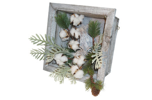 Large Hanging Box with Pine and Cotton Centerpiece