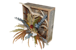 Reclaimed Wood Box with Antlers and Cotton Pods