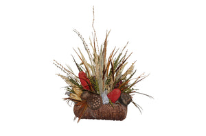 Straw Basket W/Assorted Natural Grasses & Pods Center Piece