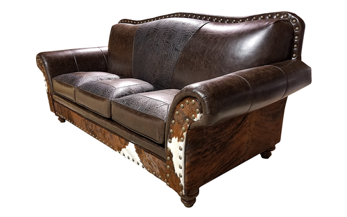 Maverick II 3 Cushion Western Cowhide Sofa