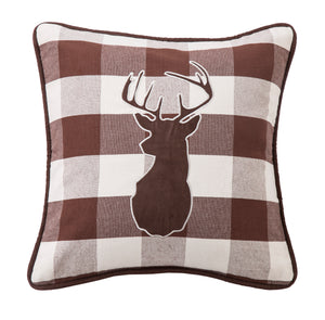 Huntsman Embroidered Deer Pillow on Buffalo Linen Fabric