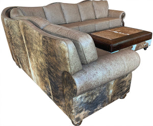 Hidden Lakes Giant Palomino Cowhide Curved Sectional