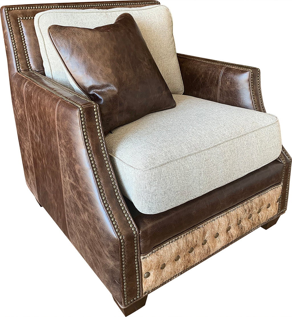 Adrian Contemporary Western Cowhide Club Chair